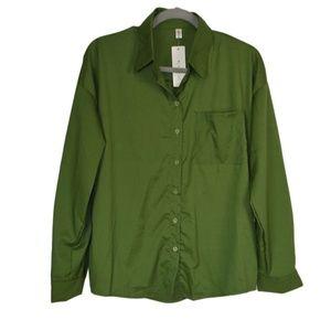 Womens Khaki Green Button Down Shirt XL